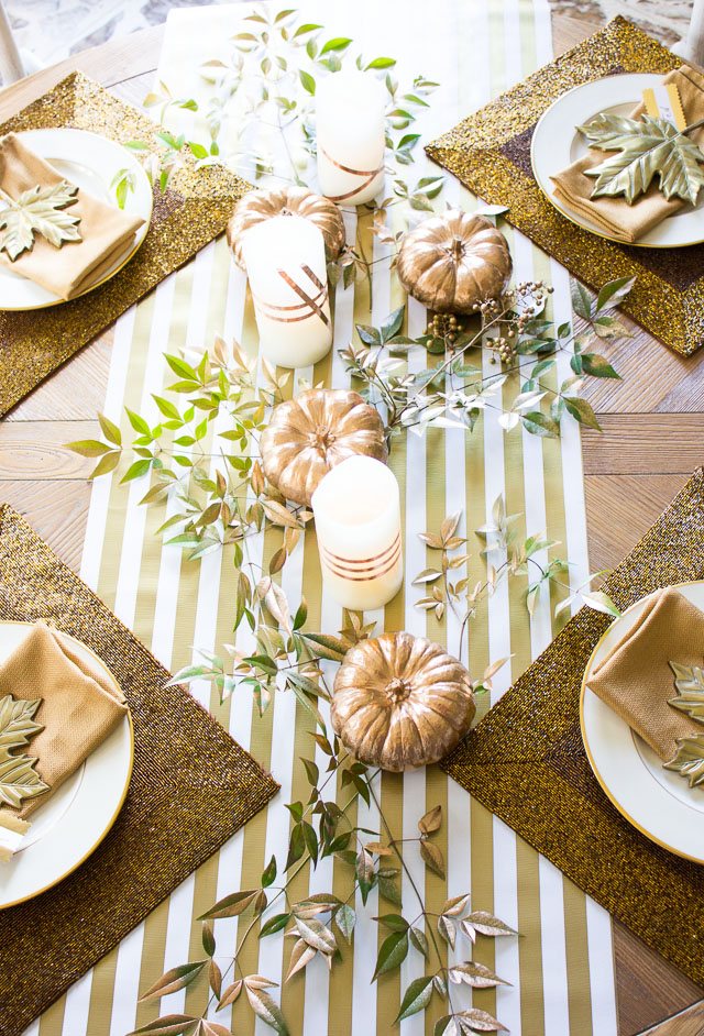 Thanksgiving table idea with copper foil wrapped candles!