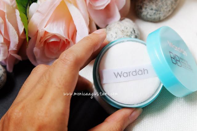 review wardah bb shine free loose powder