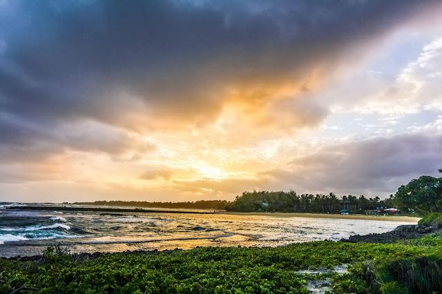 sunrise near Turtle Bay Resort in Oahu, Hawaii