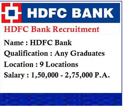 HDFC Bank Announced Big Recruitment For Freshers/Experiences In Various Positions - New Job Search