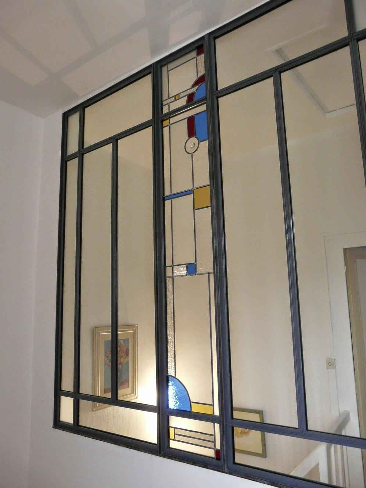 des id es en verre vitraux art d co dans une verri re. Black Bedroom Furniture Sets. Home Design Ideas