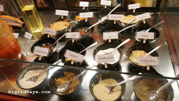 Bowlero Mongolian Bowl - Bacolod restaurants - condiments bar