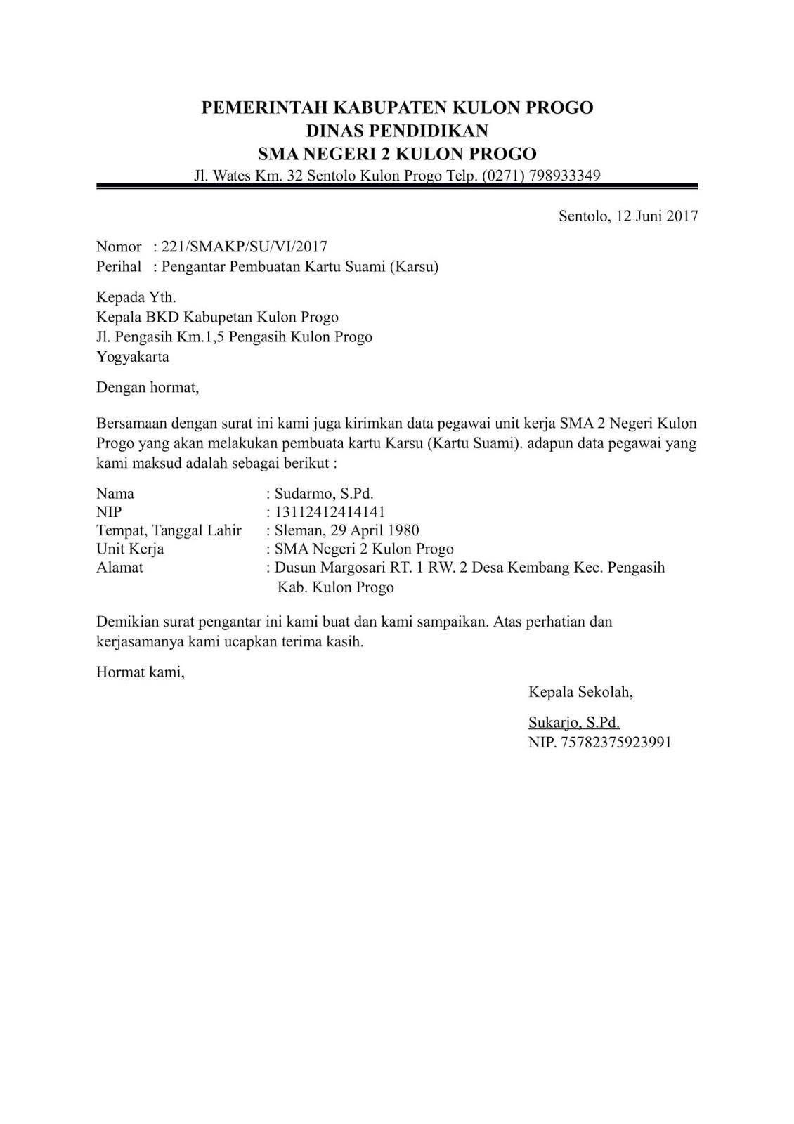 contoh surat pengantar sekolah