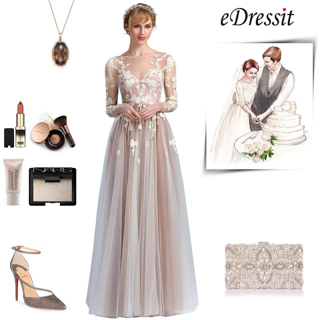 Elegant Long Sleeves Lace Appliques Fancy Prom Dress