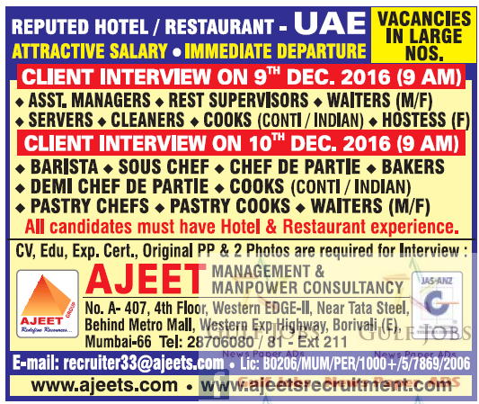 Commercial Kitchen Designer Jobs In Uae: Reputed Hotel & Restaurant Large Jobs For UAE