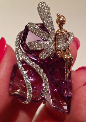 Amethyst, gold, and diamond Tinkerbell pendant by Yael Designs. Via Diamonds in the Library.