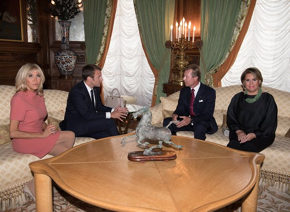 Grand Duke Henri, Grand Duchess Maria Teresa, French President Emmanuel Macron, Brigitte Macron and Gauthier Destenay