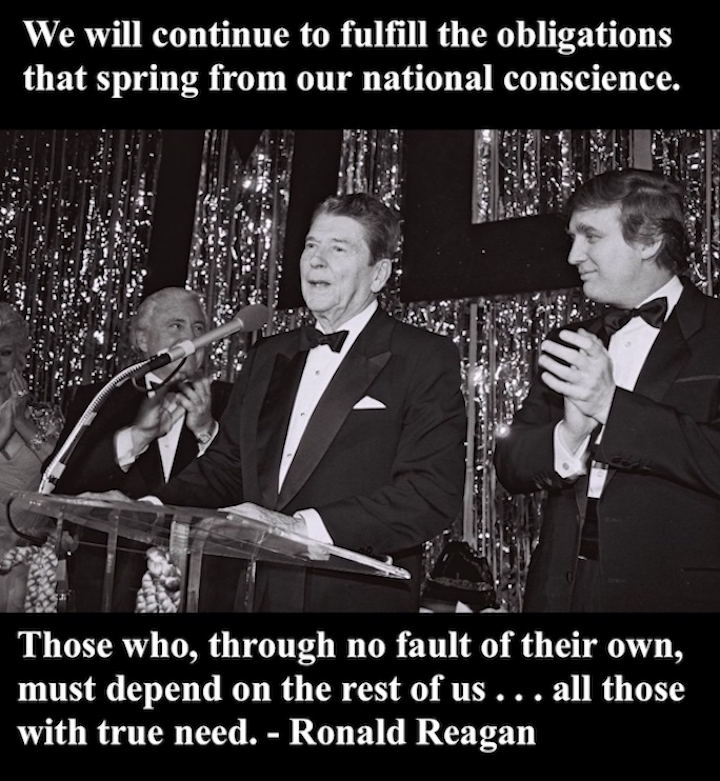 Trump and Reagan at an award ceremony Ronald Reagan quote fulfill obligations to who through no fault of there own, have true need. Ronald and Donald. marchmatron.com