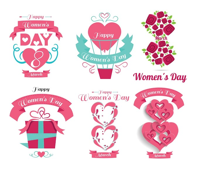 Womens day flower labels set free vector