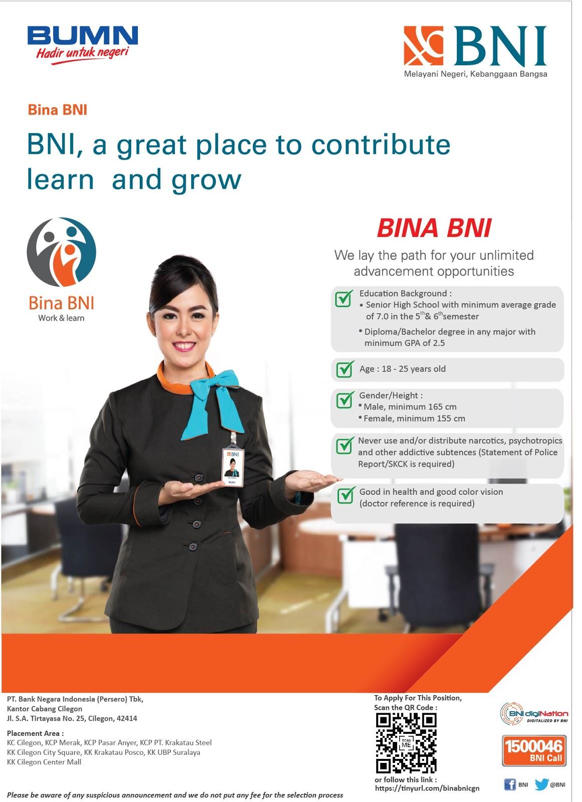 Lowongan Kerja Bina BNI PT. Bank Negara Indonesia (Persero) Tbk KC Cilegon