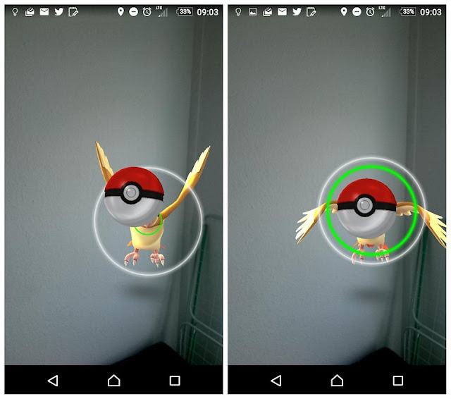 A green circle means you can easily catch the Pokémon.