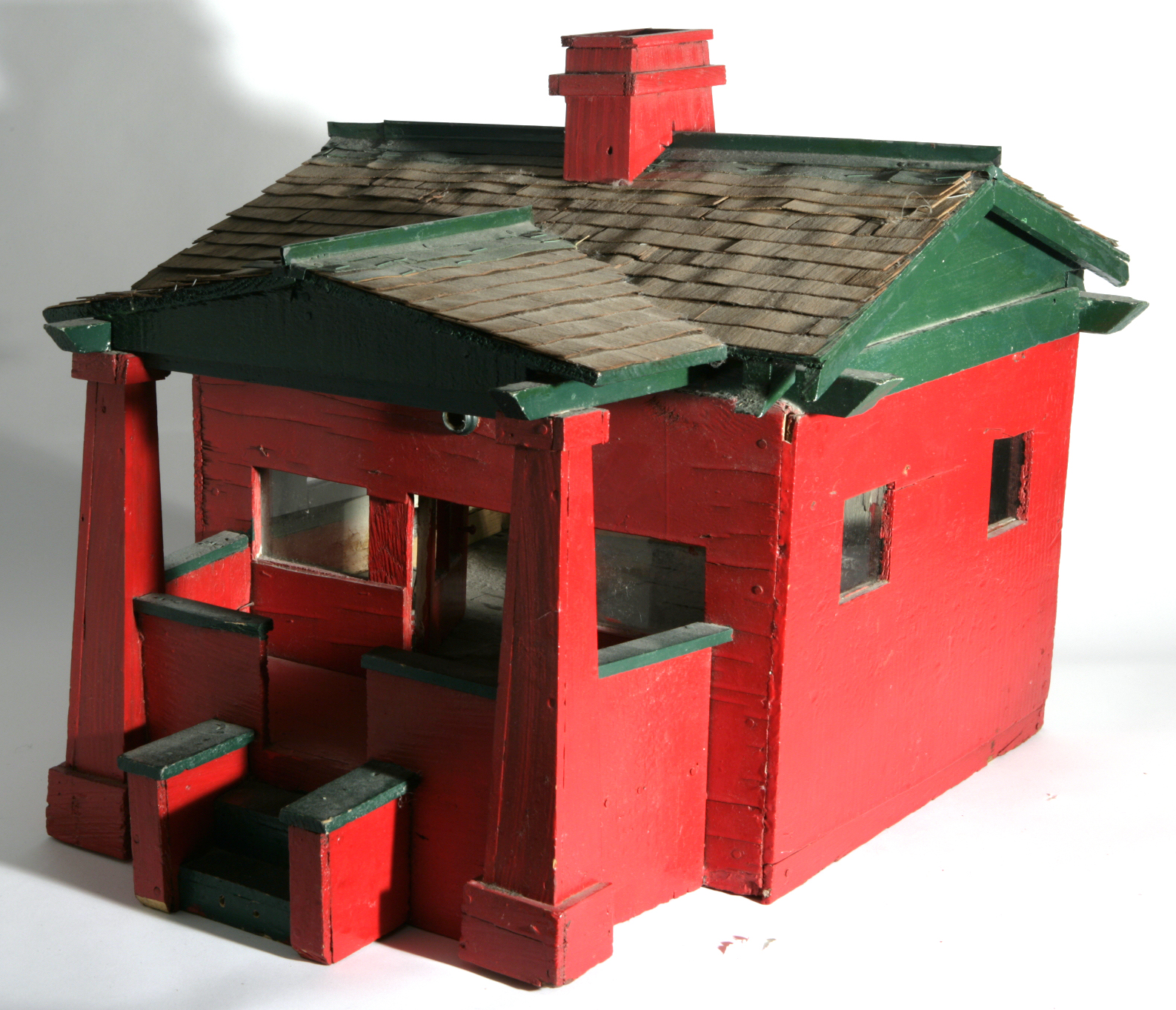 Folk Art Houses Red Chicago Bungalow W Removable Roof