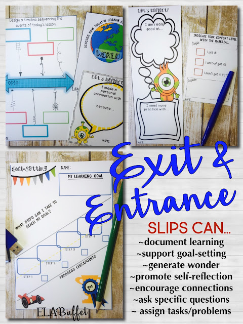 How can we use exit and entrance slips to benefit instruction?   ♦ Use them as a quick way to assess students' learning. ♦ Collect exit slips as part of an assessment portfolio for each student. ♦ Use them to inform instruction by providing you with valuable information about students' understanding. ♦ Exit and entrance slips can also be used to promote mindful learning and self-reflection.