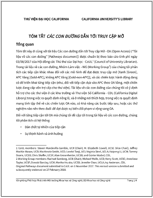 'Tóm tắt các con đường dẫn tới Truy cập Mở' - bản dịch sang tiếng Việt