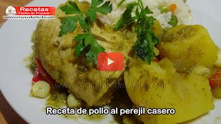 Exquisita receta de pollo al perejil , muy fácil de preparar que seguro les quedara riquísima .