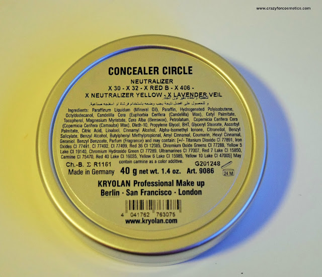 Kryolan Color Wheel Concealer Circle ingredients