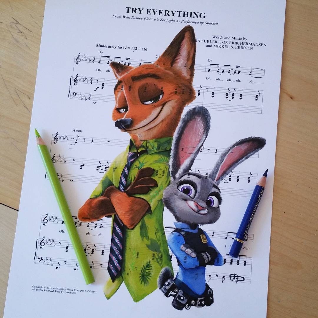 08-Zootopia-Judy-Hopps-and-Nick-Wilde-Ursula-Doughty-Animated-Movies-Drawn-on-their-Music-Scores-www-designstack-co.jpg