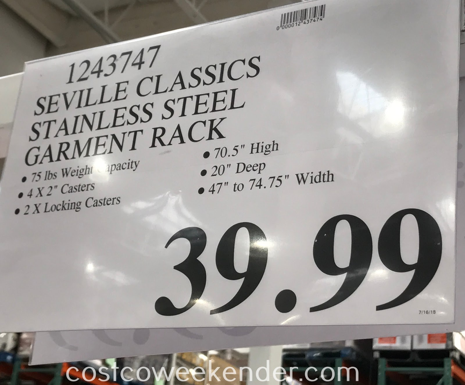 Deal for the Seville Classics Stainless Steel Garment Rack at Costco
