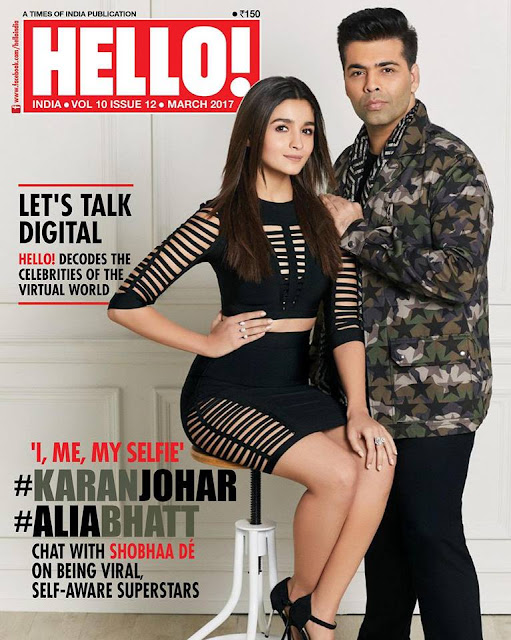 Alia Bhatt and Karan Johar On The Cover of Hello India Magazine March 2017