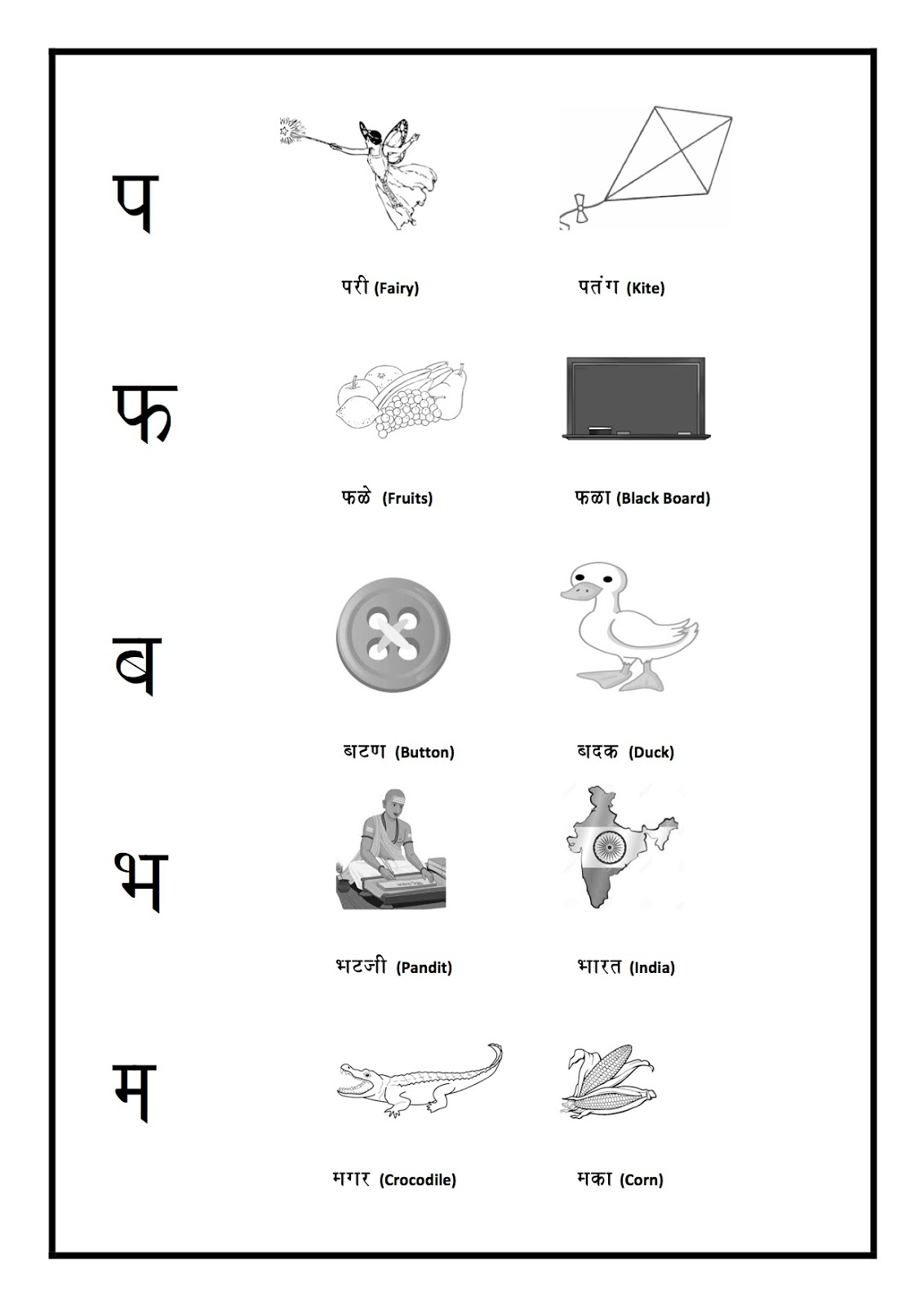 Marathi Worksheets: Consonant (Vyanjan)