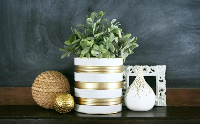 decoração reciclada lata vaso