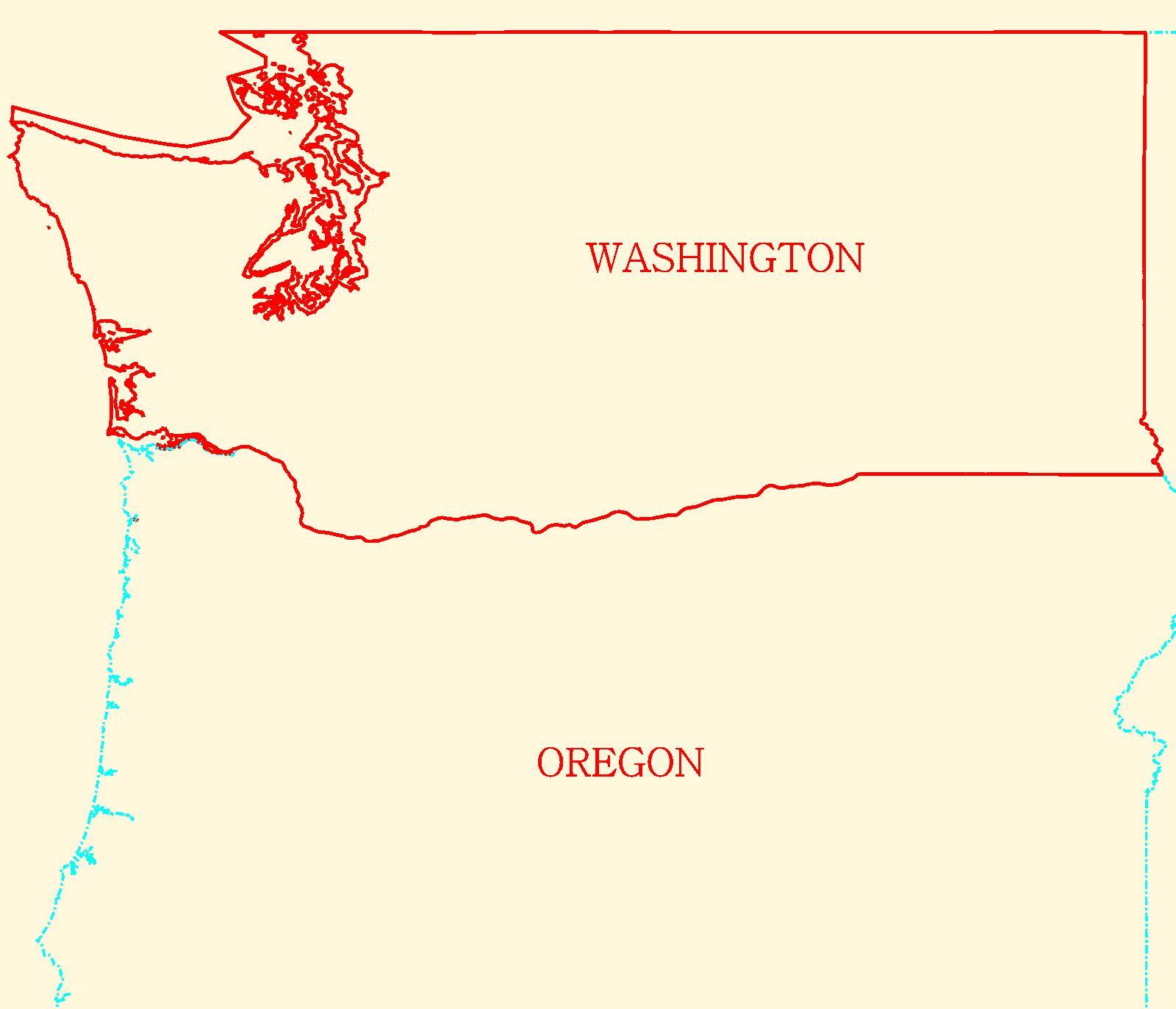 Maps Washington Outlined Map