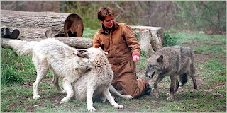 Helene Grimaud with wolves
