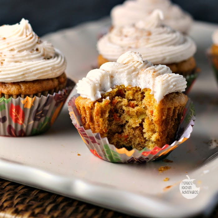 Carrot and Pineapple Cupcakes with Cinnamon Cream Cheese Icing | Renee's Kitchen Adventures   If you love carrot cake, you need to give this recipe a try!