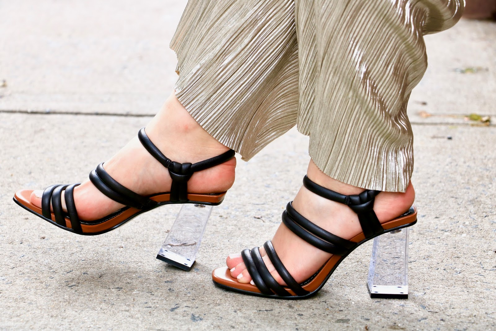 nyc fashion blogger Kathleen Harper wearing black and lucite heels from Zara