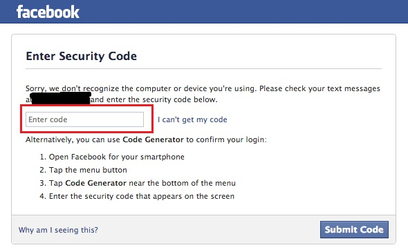 Enable text phone security code text for your Facebook