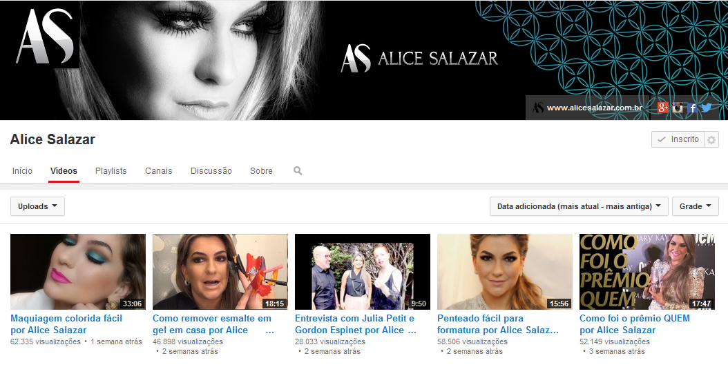 Alice Salazar -  Canal Youtube