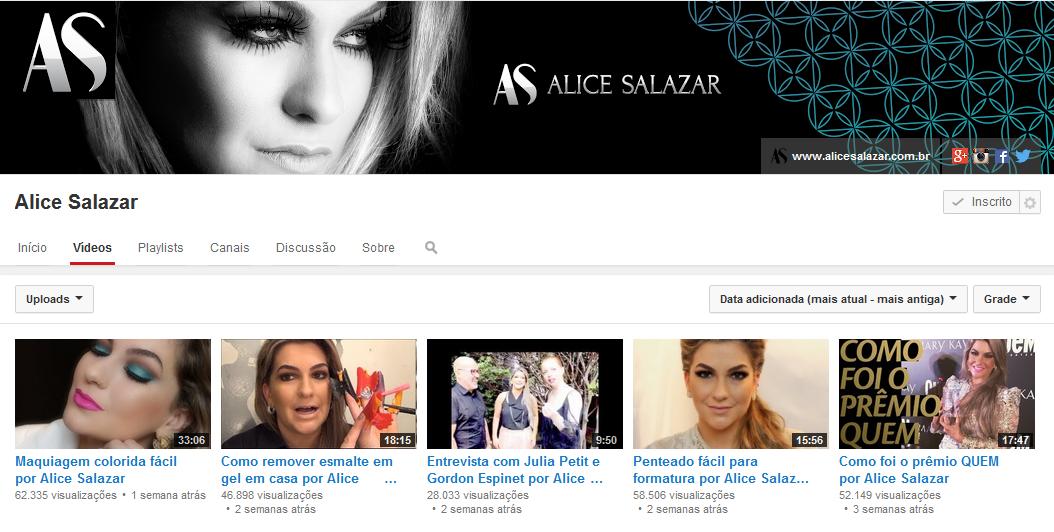 Alice Salazar -  Canal Youtube
