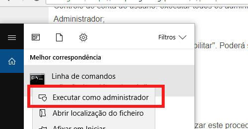 linha de comandos admin