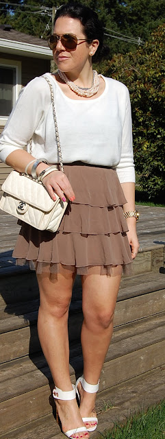 Soft sweater and tiered ruffle Forever 21 skirt with Topshop sandals and a Chanel French Riviera handbag.