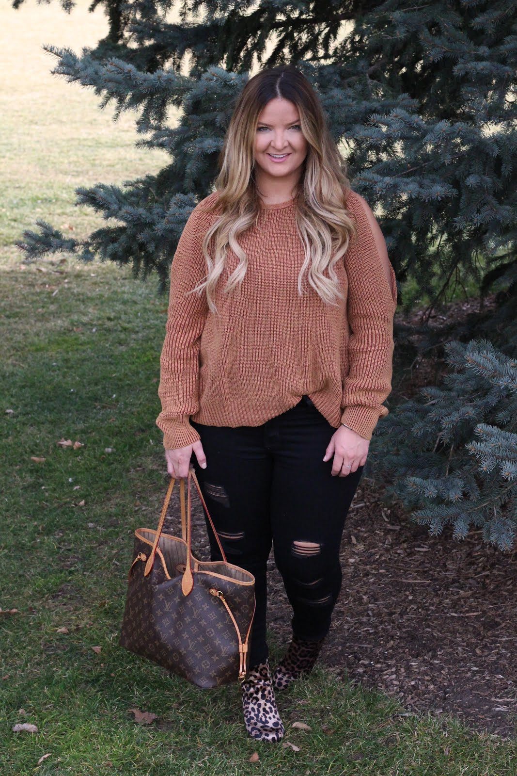 Leopard with my Orange Knit Sweater by popular Colorado fashion blogger Delayna Denaye