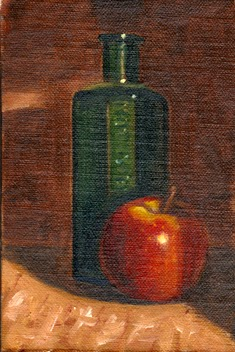 Oil painting of an apple and a green antique poison bottle.