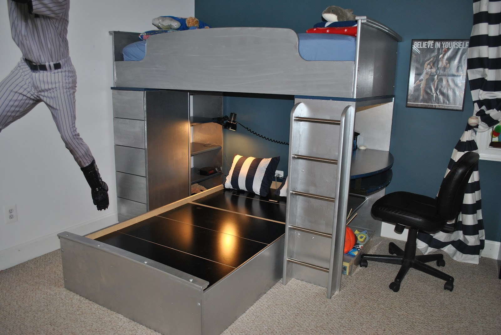 Tween Boy Baseball Room Part IV Furniture Gets Steel Look