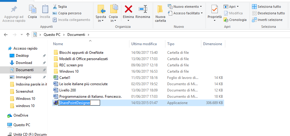rinominare File Windows 10 con doppio clic sinistro