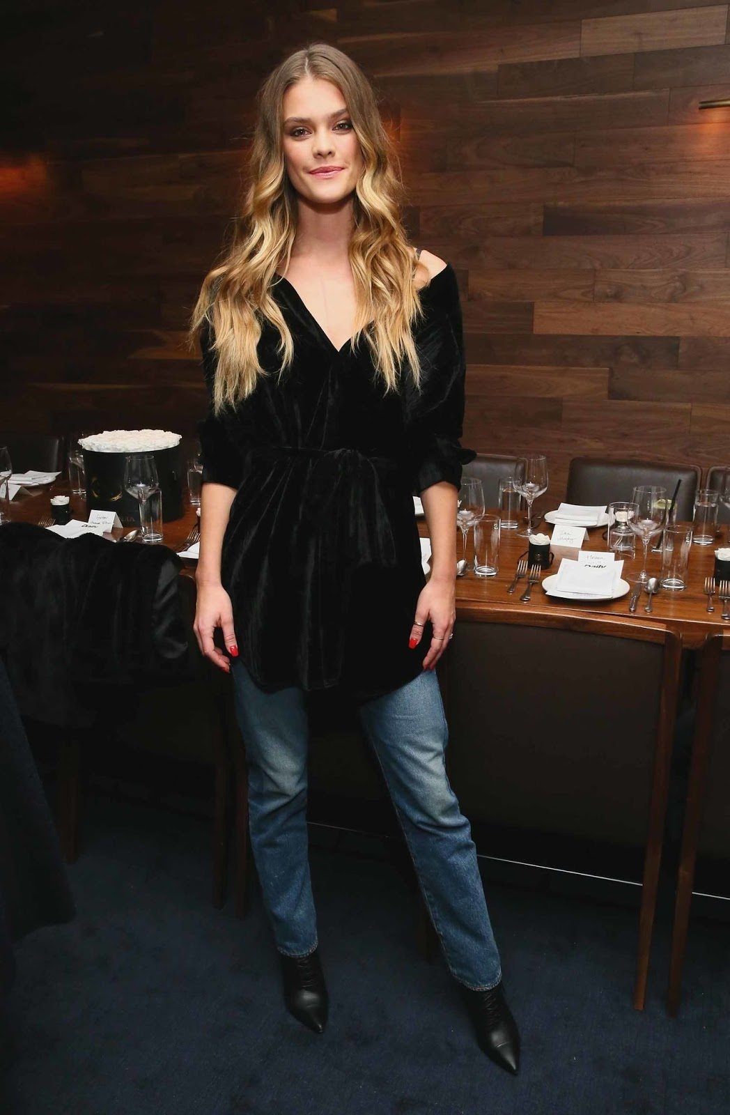 Nina Agdal attends Jeffrey Rudes Of L'Agence Dinner on February 05, 2019 in New York City