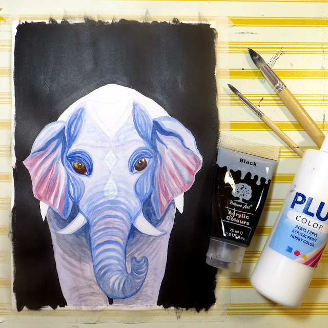 mixed media elephant work in progress