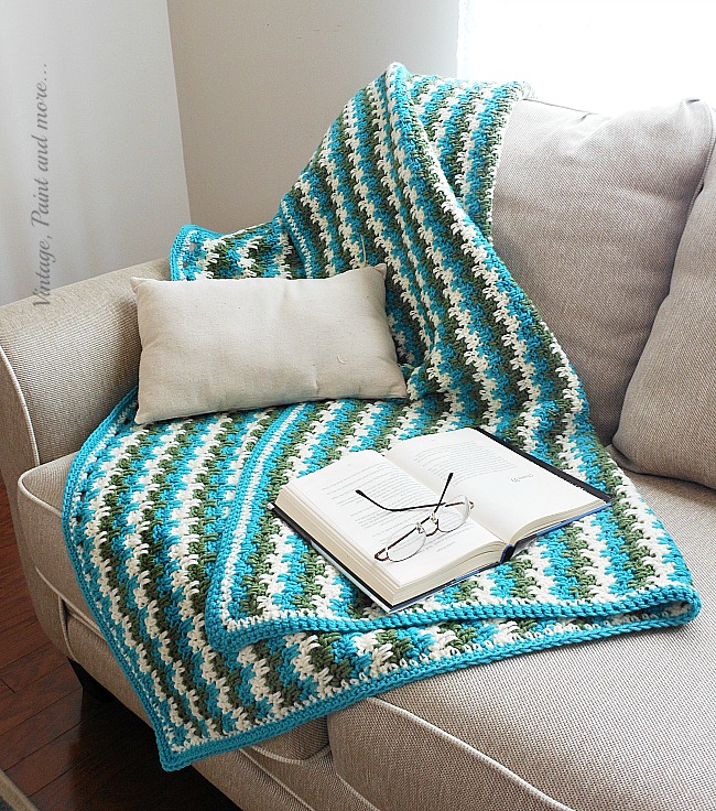 Vintage, Paint and more... crocheted afghan done in leaping stripes and blocks pattern