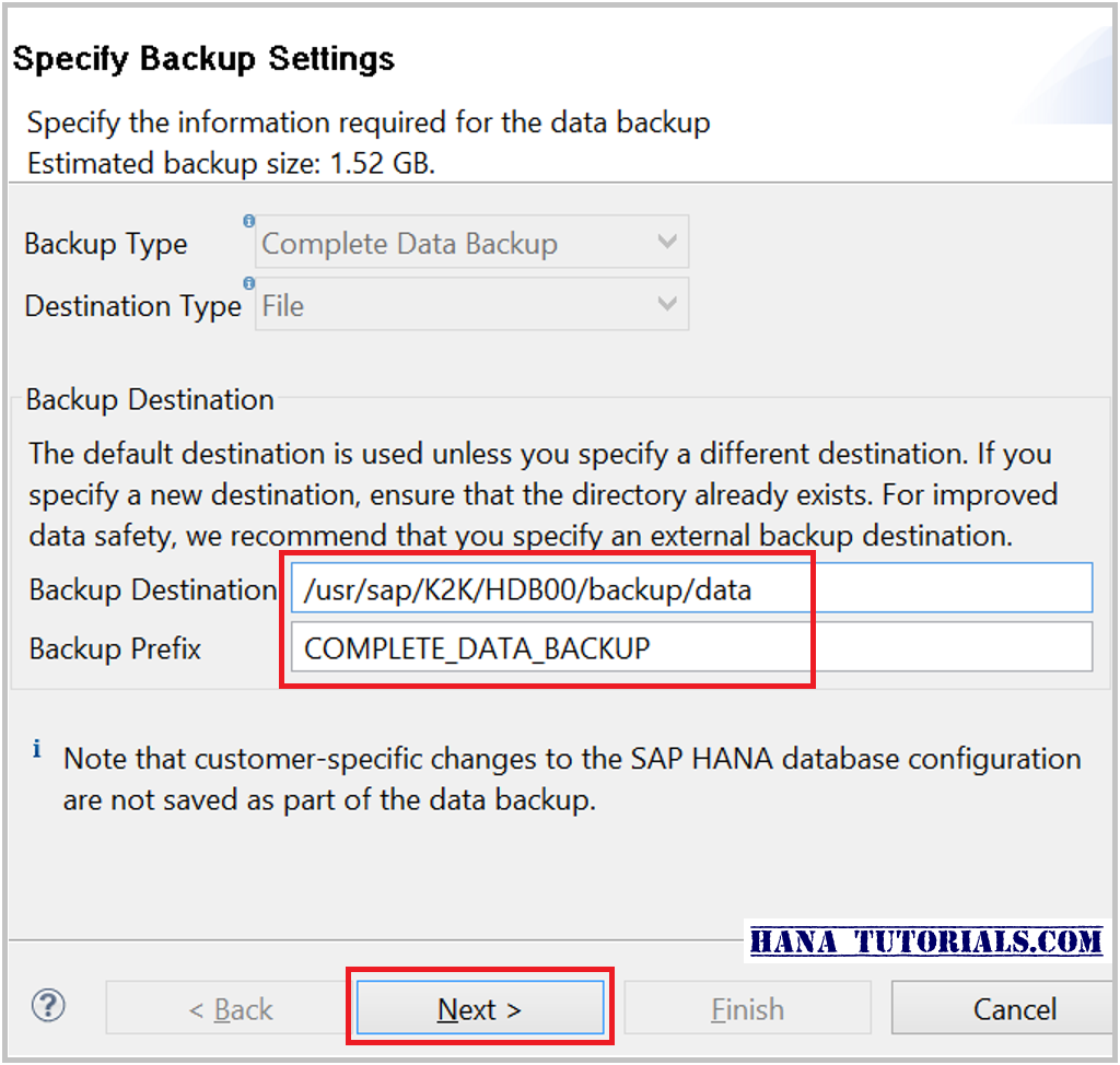 SAP HANA database backup parameters