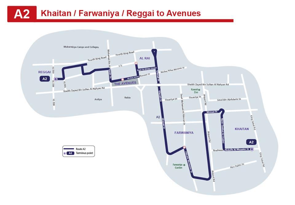 A2 Kuwait Bus Route A2 Khaitan - Farwaniya - Al Rai – The Avenues - Riggae KuwaitBus 2