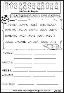 Classificar palavras com letra J