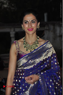 Model Shilpa Reddy Stills in Purple Silk Saree at Gudi Sambaralu 2017 Sri Ramachandra Swami Temple  0052.JPG