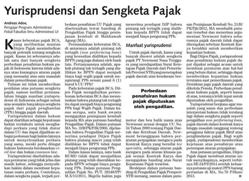 Taxation Indonesia Yurisprudensi Dan Sengketa Pajak