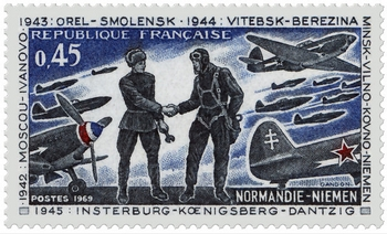 Normandie Niemen post stamp, 1969, by Pierre Gandon - Russophilia