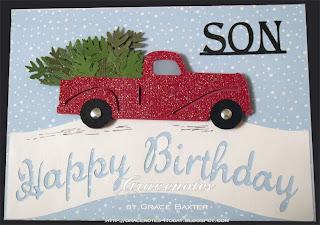 Christmas-birthday truck with tree