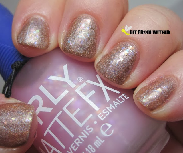 Matte, soft pink iridescent flakies look like frosting.