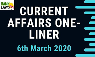 Current Affairs One-Liner: 6th March 2020